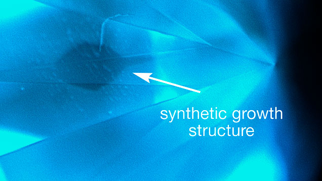 DiamondView imaging of synthetic growth structure and blue fluorescence.