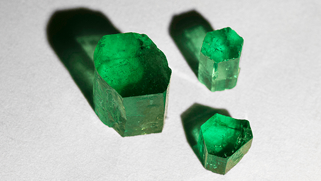 Emerald crystals from Colombia, Afghanistan, and Zambia