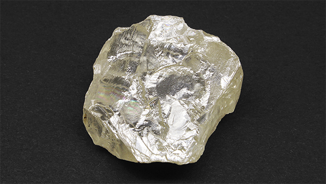 The 187.63 ct Foxfire rough diamond.
