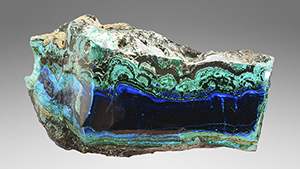 Polished vein of azurite with malachite and chrysocolla from Cochapata.