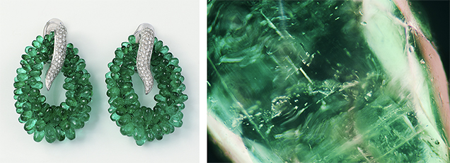 Left: The drilled green briolettes. Right: Fluid inclusions, crystals, and two-phase inclusions.