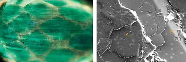 Left: The concentrated green areas of the coating are seen using magnification with diffused illumination. Right: An SEM image from the specimen.