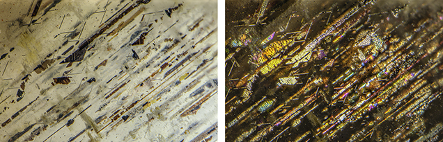 Brown and black exsolution platelets of hematite and ilmenite in feldspar show colorful thin-film interference colors.