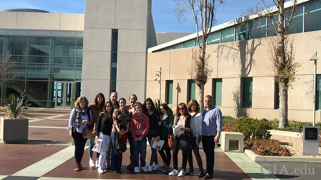 A group of people in front of GIA in Carlsbad.