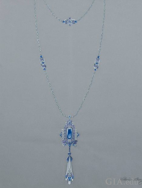 Art Deco-inspired necklace featuring blue sapphire, tanzanite, diamonds and enamel. An ornate pendant hangs from a chain with stations of embellished links in between the chain.