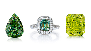 Loose and mounted green diamonds.