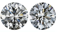 Two diamonds that both look the same. One is natural and one is synthetic.