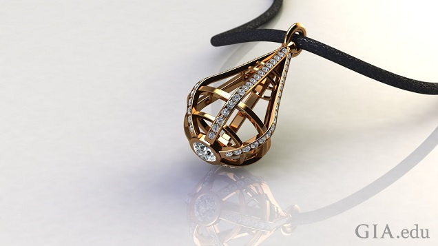 A tear-drop shaped cage of gold and diamonds hangs from a black leather cord.