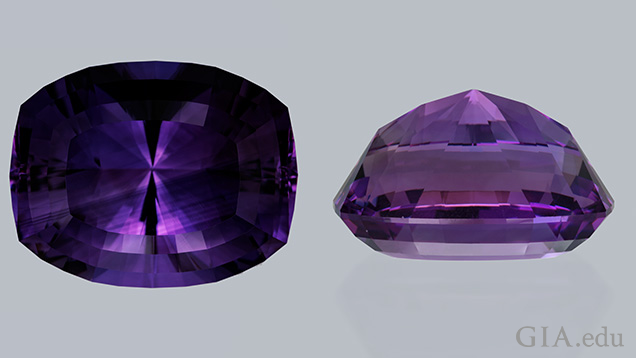 Amethyst top and side view