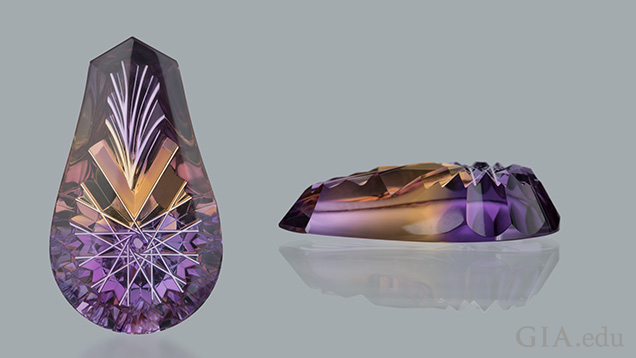 Ametrine top and side view