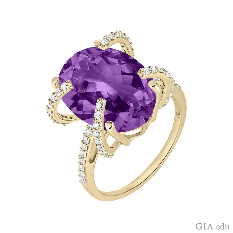 This ring features the February birthstone, an oval cut amethyst set in recycled 18k gold with diamonds.