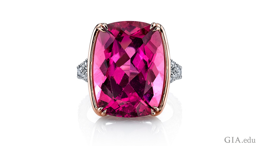 A 15.16 carat pink tourmaline and diamond ring set in platinum and white gold boasts the October birthstone.