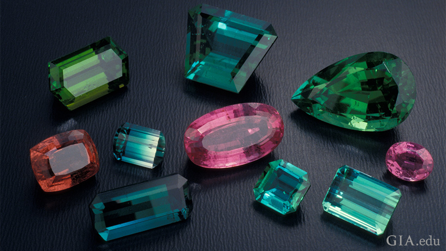 Suite of multicoloured tourmaline. Photo: Robert Weldon/GIA