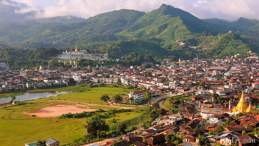 A classic view of Mogok town, dominated by the Chan Thar Gyi Pagoda (left) and arranged around its lake, which was created from a gem mine worked during British colonial times. Photo: Vincent Pardieu