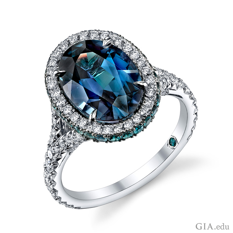 Alexandrite and diamond ring handcrafted with a 5.16 carat oval alexandrite centre stone accented with 0.57 carats of round alexandrites and 0.74 carats of brilliant diamond rounds set in platinum. RO1005-ALOV - Platinum, Alexandrite, Oval, 5.16ct. Courtesy: Omi Privé
