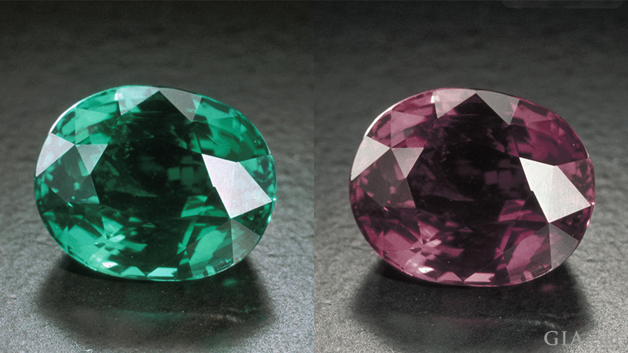 This 7.19 ct alexandrite (as it appears in fluorescent, left, and incandescent, right, illumination) is from the Tunduru region of Tanzania. Photo: Robert Weldon/GIA