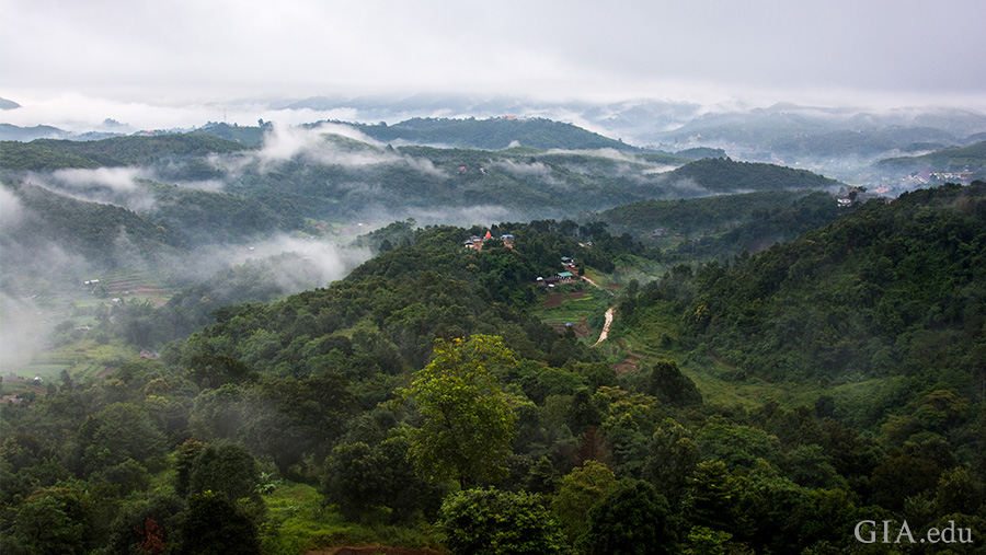 A scenic view near Mogok rivals the beauty of the sapphires hidden underground. Photo: James E. Shigley/GIA