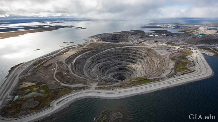 The April birthstone, diamond can be found in Canada's Diavik diamond mine, a sub-arctic landscape of open-pit mines surrounded by a lake.