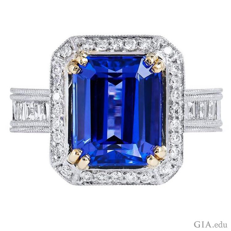 A beautiful deep blue 4.91 carat tanzanite ring with diamonds shows off the December birthstone.
