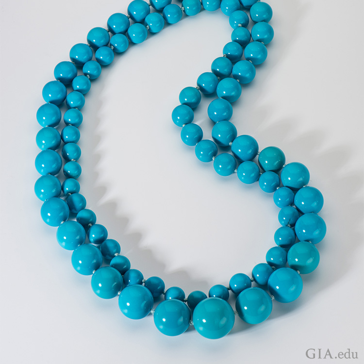 A double-strand necklace with intense turquoise beads flaunts the December birthstone from Arizona's Sleeping Beauty mine.