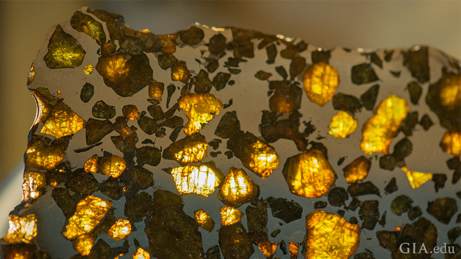 Transparent peridots can be seen scattered throughout this pallasite meteorite. Photo: Eric Welch/GIA. Courtesy: Magic Mountain Gems