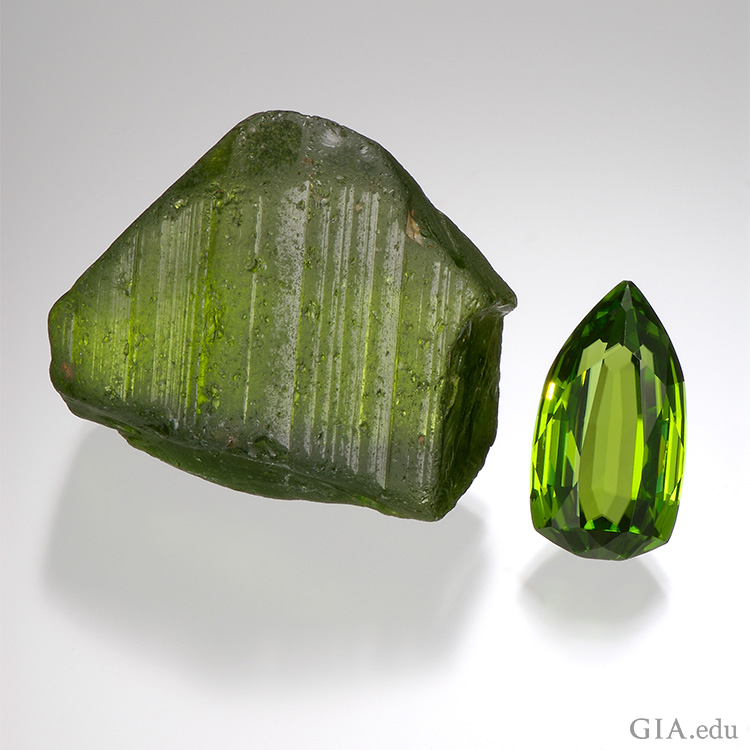 "The preferred colour for peridot is a pure ""grass"" green without any hint of yellow or brown. The large (364 ct) crystal is from the historic Red Sea source, Zabargad. Photo: Robert Weldon/GIA"