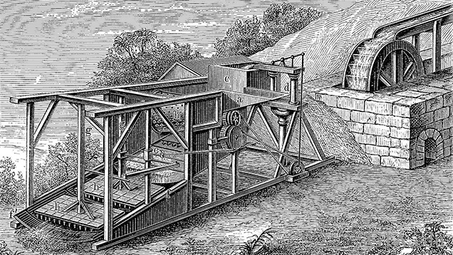 A black and white drawing of a large mining apparatus in the rural 1800