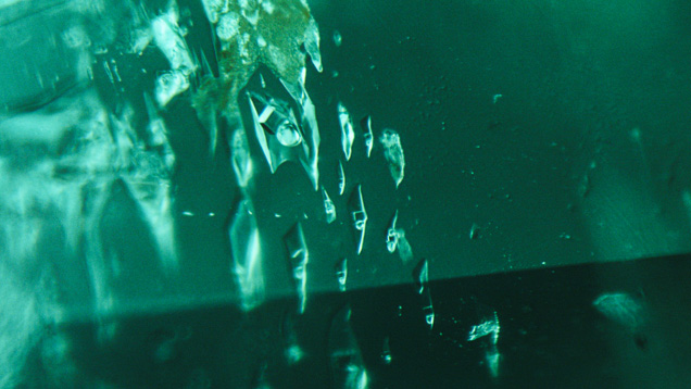 Jagged fluid inclusions in Chinese emerald